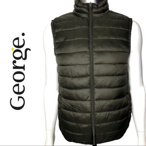 George Olive Green Puffer Vest Size Small